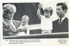 (1168) Diana & Charles with children, 1985 (14 x 9 cm)