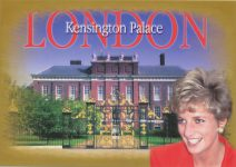 (1452) Memorial card princess Diana/Kensington Palace (17 x 12 cm)