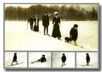 (177) Haakon, Maud & little Olav on ski, 1907 (modern card 18 x 12,5 cm)