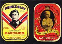 "(239) Labels ""Prince Olav"" 1905 & 1945 (modern postcard)"