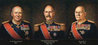 (451) 3 Norwgian kings from 1905 (paintings 2016 - 28 x 13 cm)