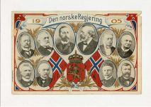 (457) Modern card from Norwegian liberation year 1905 (21 x 15 cm - blank on the reverse side)