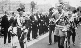 (22) Visit of emperor Wilhelm of Preussia, 1908 (modern postcard issued c. 1970's)
