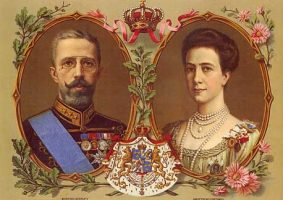 (603) Gustav V & Victoria (modern postcard 21 x 15 cm)