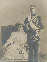 (786) Gustaf Adolf & Margaretha (small postcard 9 x 6,5 cm)