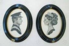(2) Framed, hand embroided portraits of Sonja & Harald, 1975 (ca. 18 x 14 cm)
