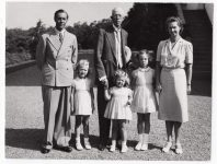 (37) Gustaf V, Gustaf Adolf & Sibylla with 3 oldest daughters, 1942 (Nilsson-Foto, 12 x 9 cm)