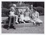 (38) Gustaf V, Gustaf Adolf & Sibylla with 3 oldest daughters, 1942 (Nilsson-Foto, 11,5 x 9 cm)