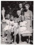(41) Gustaf V, Gustaf Adolf & Sibylla with daughters, 1945 (E. Bengtsson, 11,5 x 9 cm)