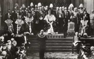 (1187) King Oscar II, opening of parliament, 1905 (modern postcard issued c. 1970's)
