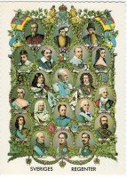 (1190) Swedish monarchs 1521 - 1907 (modern postcard issued c. 1970's)