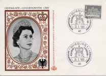 (1955) Commemorative card Queen Elizabeth, visit to Germany, 1965