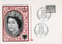 (1956) Commemorative card Queen Elizabeth, visit to Germany, 1965