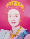 (2027) Queen Elizabeth by Andy Warhol, 1985 (double card, 10 x 8 cm when folded)