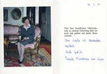 (386) Thank you card from Princess Traute of Lippe, 2001 with original signature inside (double card 15 x 10,5 when folded)