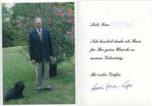 (384) Thank you card from Prince Armin of Lippe with original signature inside (double card 15 x 10,5 cm when folded)